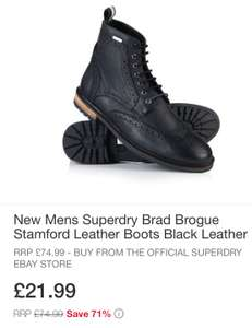 Superdry Mens Boots - Black size 8 £21.99 (ebay Superdry Store)