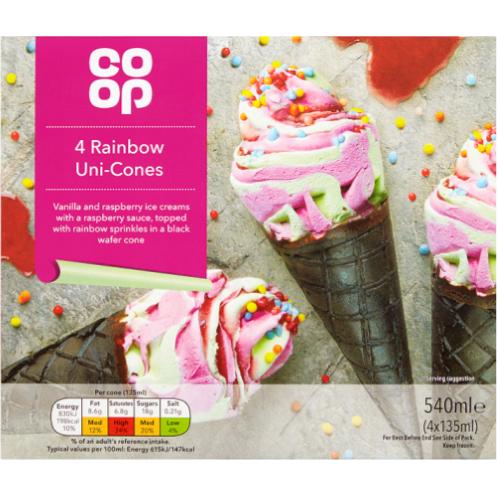 Coop Rainbow Uni-cone Ice Creams 4pk £1.19