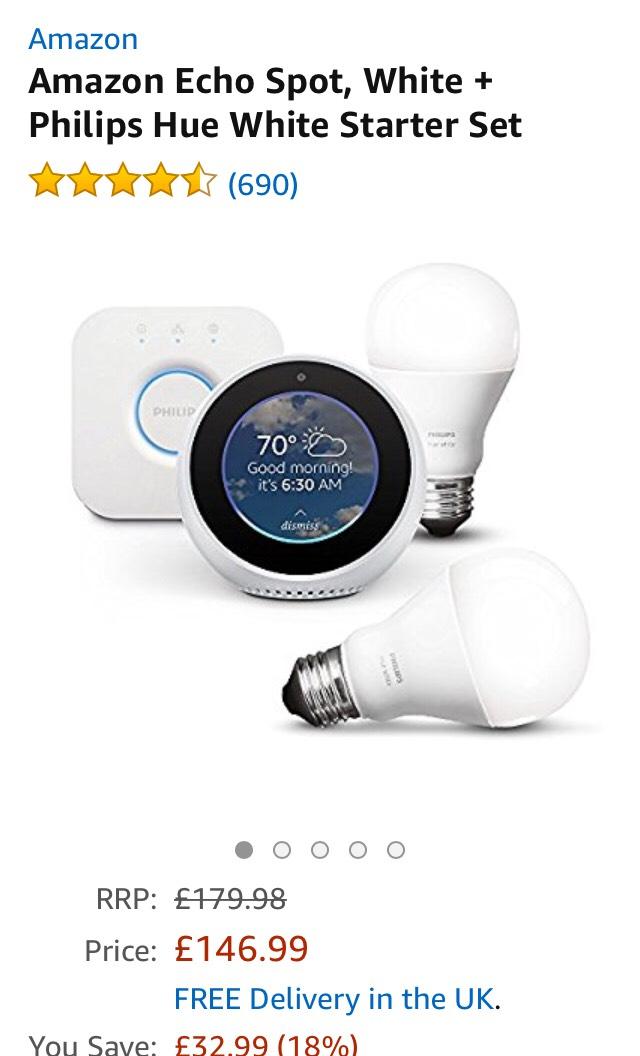 amazon echo spot white +Philips hue white starter set £146.99