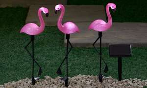 One, Two or Four Sets of Three Flamingo Solar Standing Lights £10.99 + £1.99 del - groupon