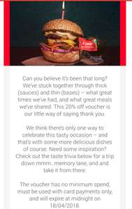 Happy Just Eat-versary: here's 20% off (email-only offer for existing customers)