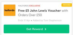 Free £5 John Lewis Voucher with orders over £50 @ Halfords via VoucherCodes