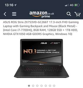 ASUS ROG Strix ZX753VD-GC266T 17.3-inch FHD Gaming Laptop with Gaming Backpack and Mouse (Black Metal) - (Intel Core i7-7700HQ, 8GB RAM, 128GB SSD + 1TB HDD, NVIDIA GTX1050 4GB GDDR5 Graphics, Windows 10) (Used Very Good) £770.03 - Amazon Warehouse