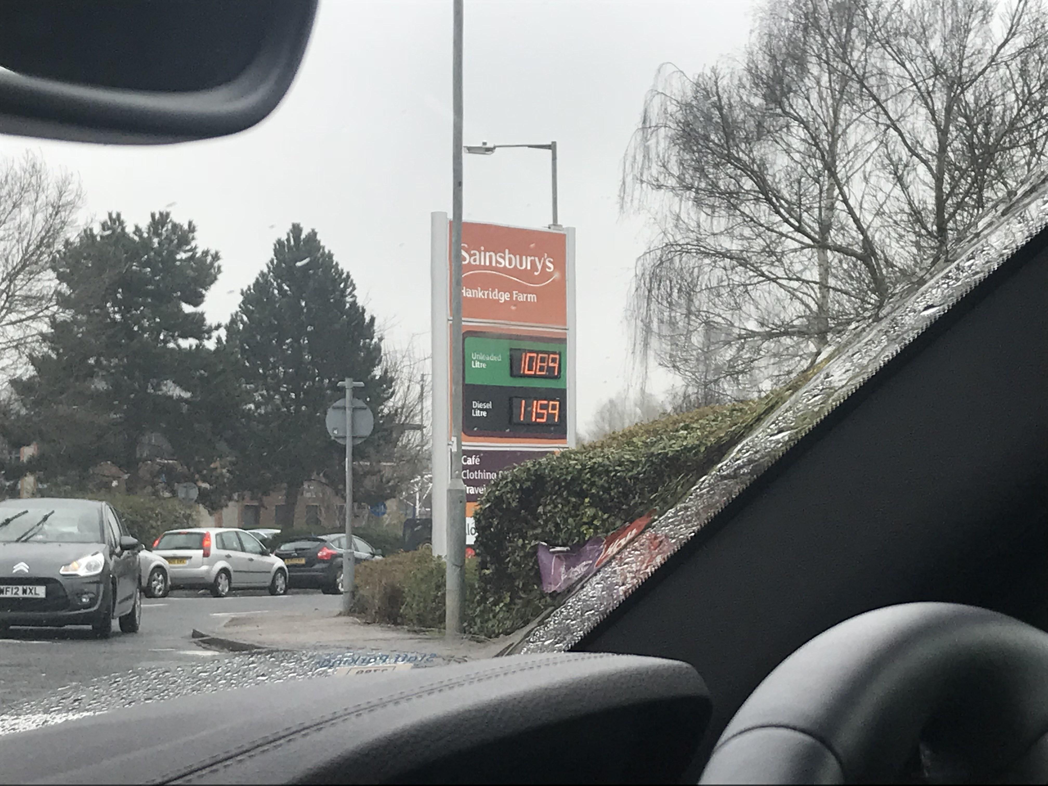 Hankridge Farm Sainsburys petrol 108.9p per litre