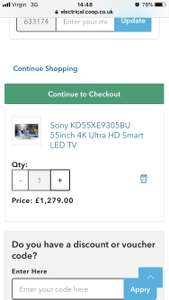 Sony KD55XE9305BU TV at Co-Op Electrical for £1215 w/code CP100 and 5% off for coop membership