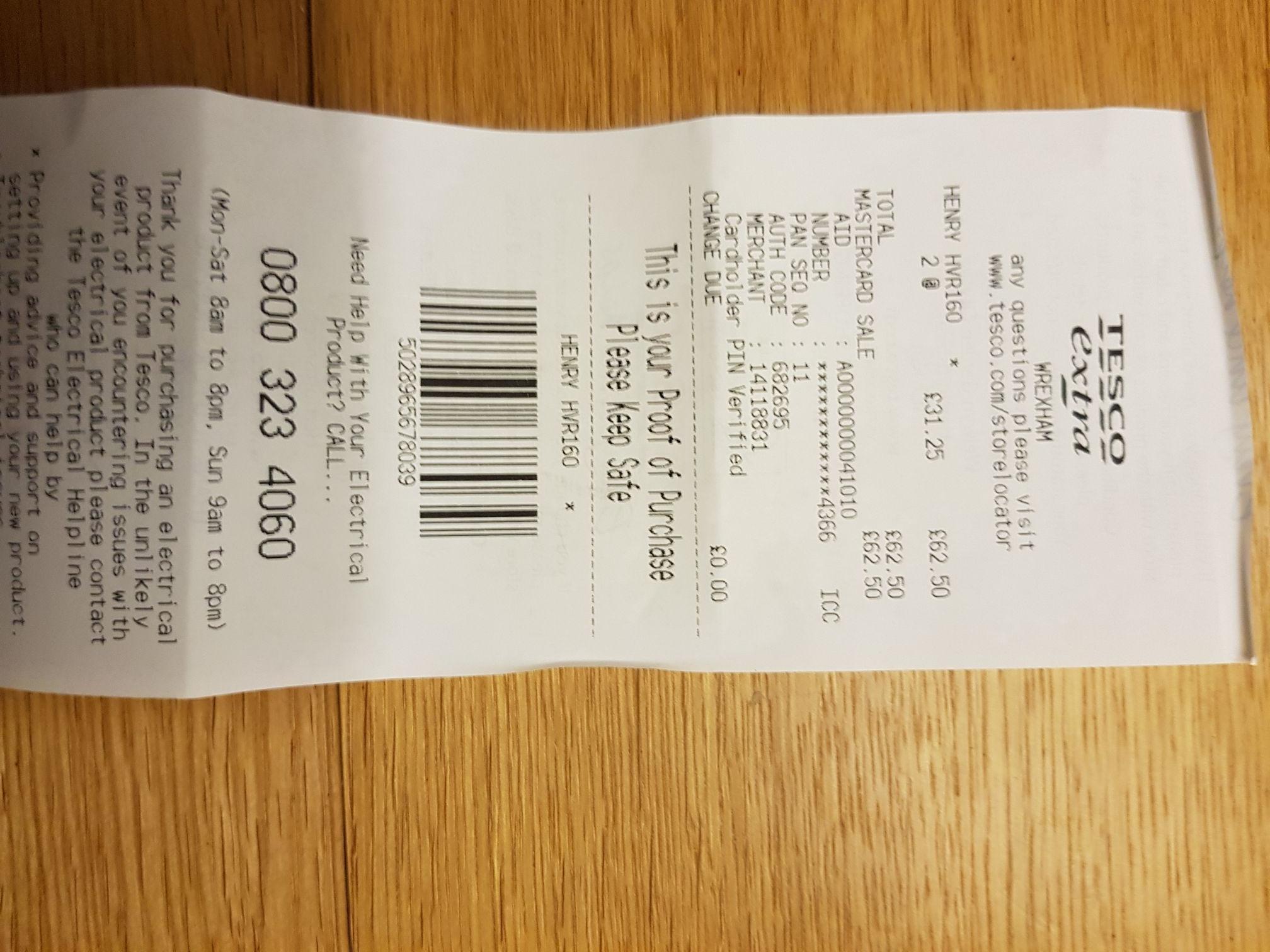 Henry hvr160 compact £31.25 instore @ Tesco Wrexham