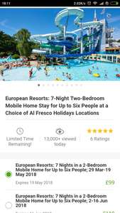 7 Nights in a European Mobile Home Al Fresco Resort for up to 6 people from £99 @ Groupon