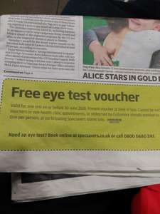 UPDATE: Free eye test voucher Specsavers on Evening Standard from 15th May.