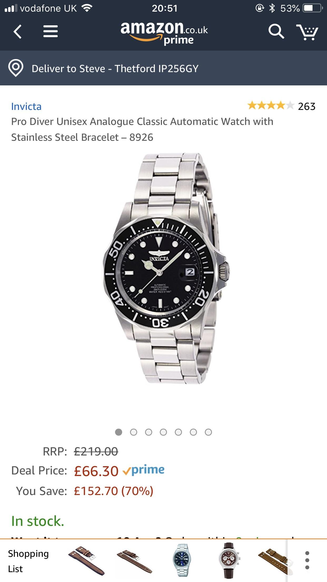 Invicta Pro Diver Automatic Mens Watch £66.30 at Amazon