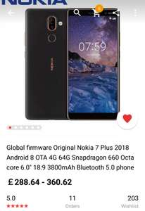 Nokia 7 Plus 4GB 64GB (AliExpress) - £282.56 @ Ali Express Store: Carryit Technology Co., Limited