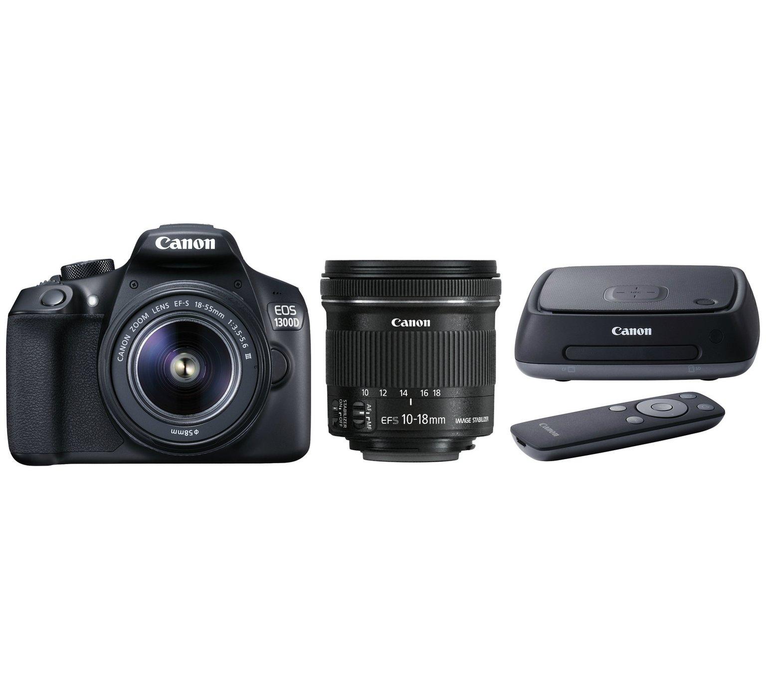 Canon 1300D DSLR - 18-55 & 10-18mm Lenses + connect station £399.99 Argos