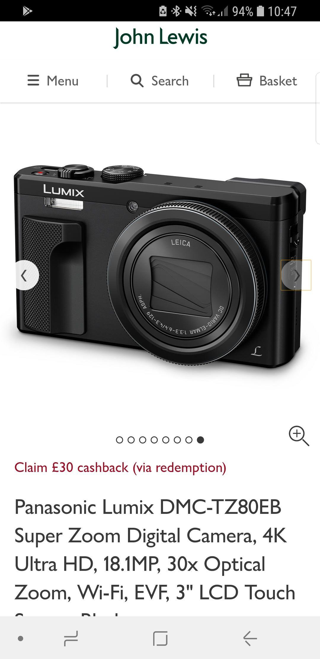 Panasonic TZ80 at John Lewis £249 - £30 cashback from Panasonic + 2 year guarantee!!