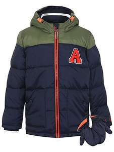 1\2 price,Hooded shower resistant double zip padded coat & mittens £8 @ Asda