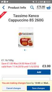 Selected Tassimo coffee pods from £3 @ Tesco from 11th