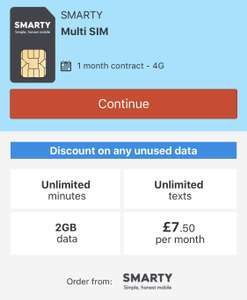 Smarty sim unlimited texts and calls 2gb £7.50 per month