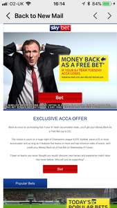 Exclusive ACCA offer- back 5+ teams for tonight and get money back as a free bet if you lose when you place £5+ bet @ Sky bet