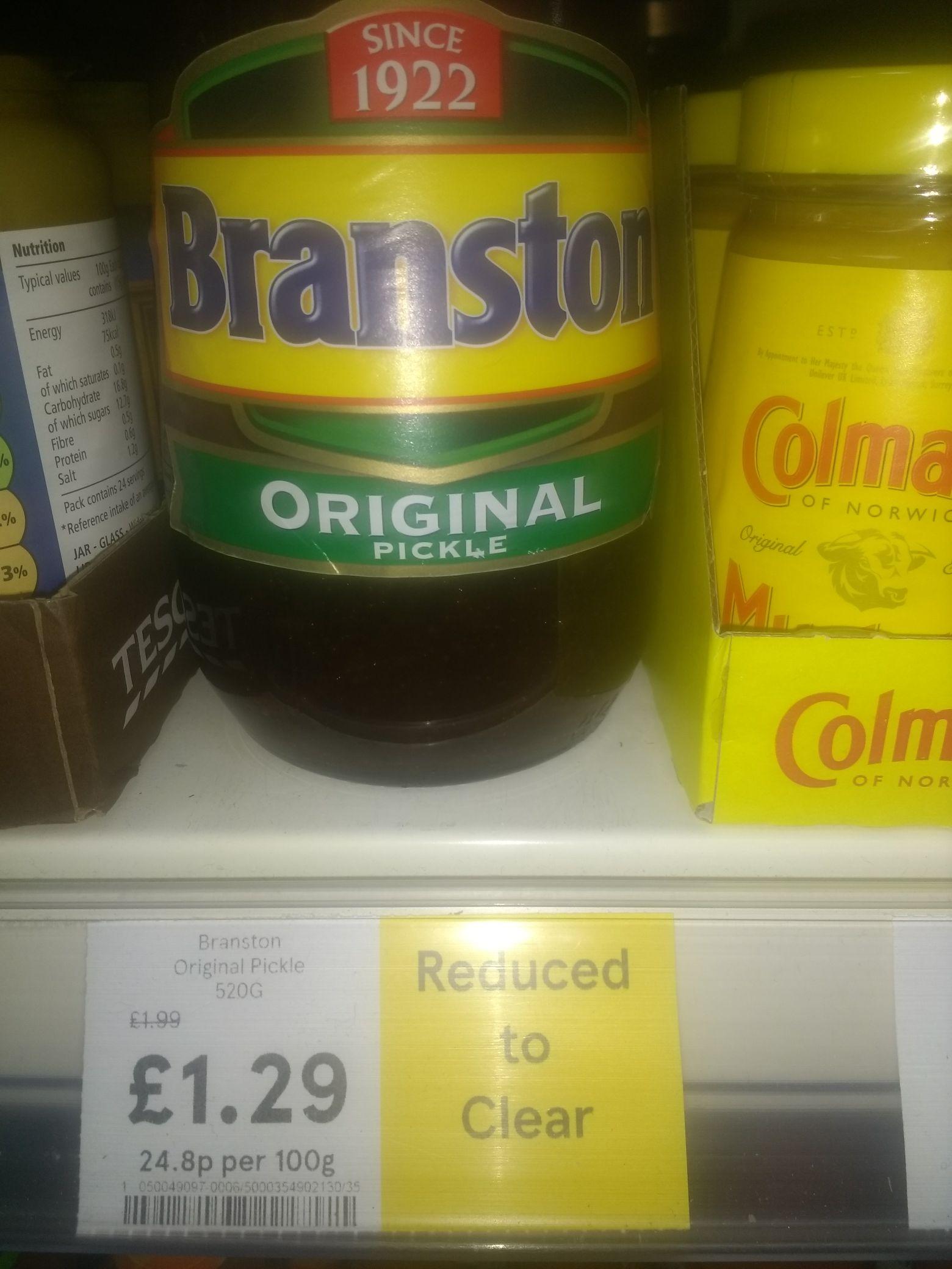 Tesco (Express) Branston Pickle Oriignal 520g RTC £1.29 instore