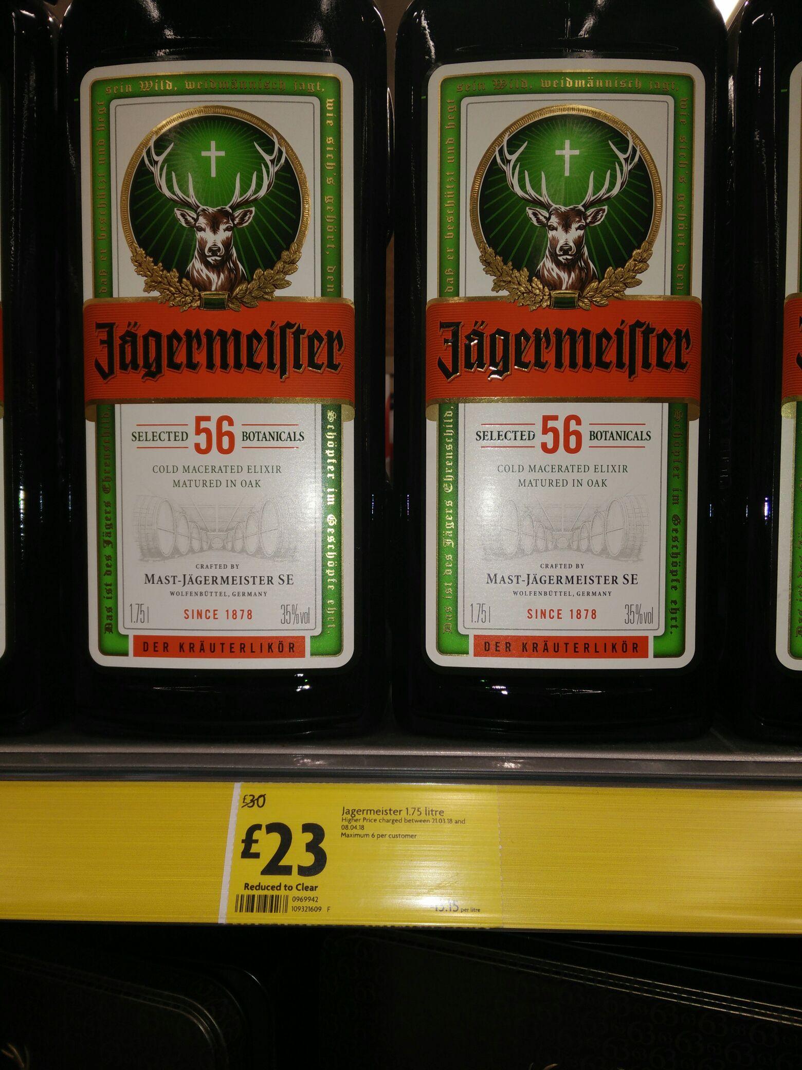Jagermeister 1.75 litre £23 instore at Morrison's