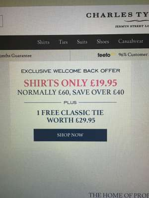 Charles Tyrwhitt Shirts - All shirts are £19.95 plus a free tie!