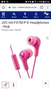 JVC HA-FX7M-P-E Headphones - Pink £3.31 - Currys
