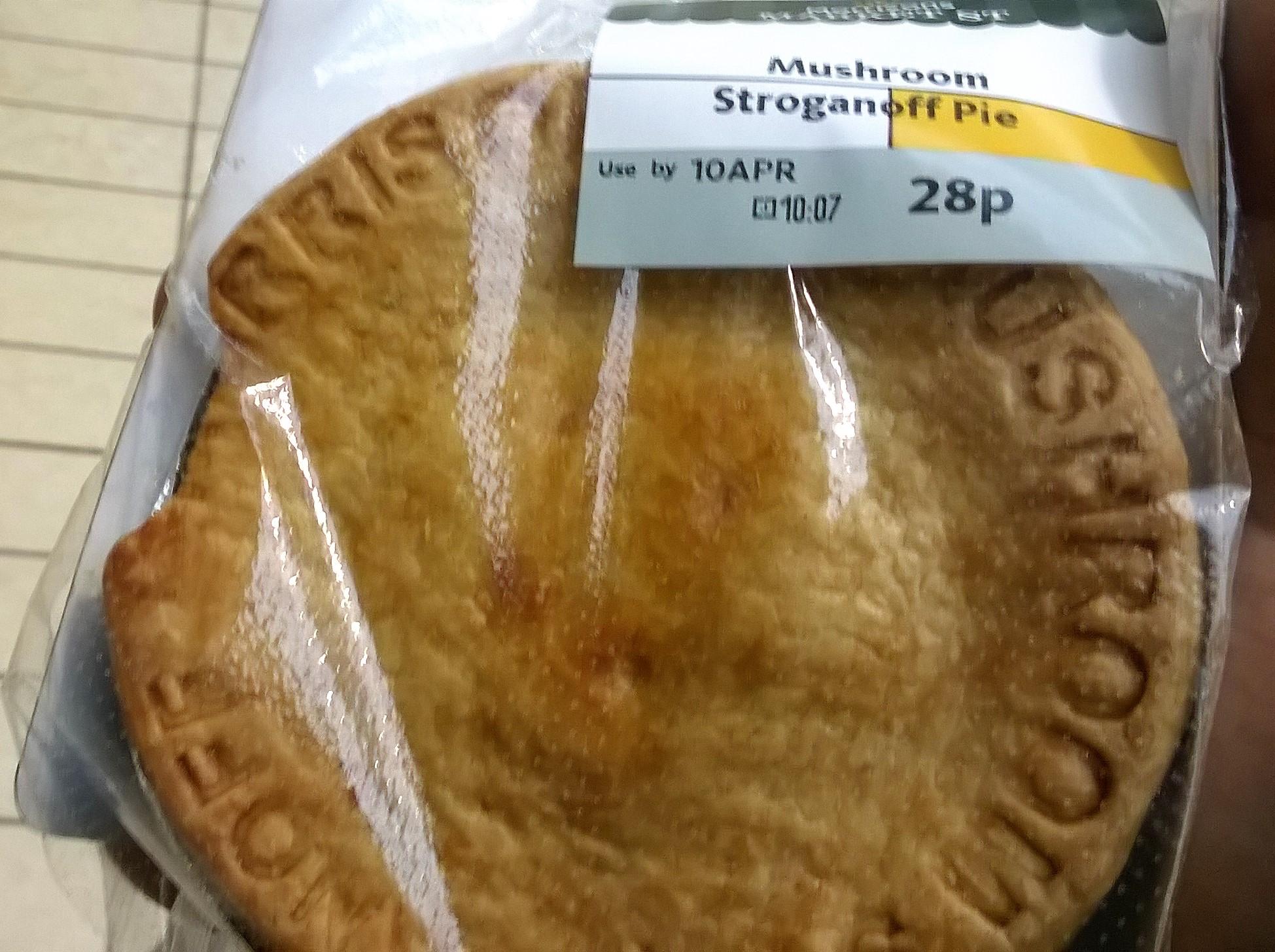 Morrisons individual Mushroom Stroganoff pie - 28p instore