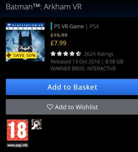 Batman Arkham VR £7.99 PSN