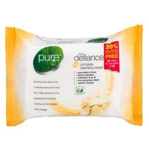 Pure Age Defiance Cleansing Wipes 30 Pack 2 for £1 @ poundland