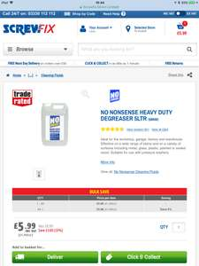 SCREWFIX NO NONSENSE HEAVY DUTY DEGREASER 5LTR £5.99
