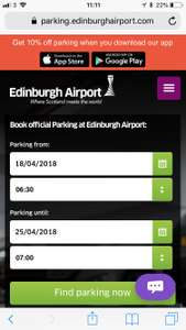 Edinburgh Airport Official Parking - 17 days £92.70 - via app