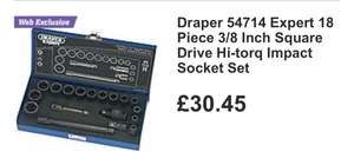 Draper Hi-Torq impact socket set £30.45 @ Halfords