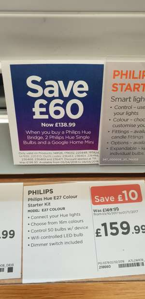 Phillips Hue Bridge, 2 Phillips Hue Single Bulbs and a Google Home Mini £138.99 @ Currys instore