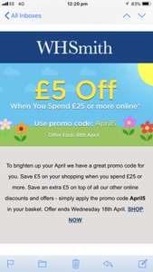 Discount code at WHSmith - £5 off £25+ spend