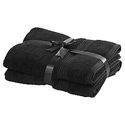 TESCO HYGRO COTTON 2 PACK BATH TOWELS BLACK £4 - WAS £16