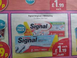 Twin Pack Signal Toothpaste 2x100ml £1.19 at Savers