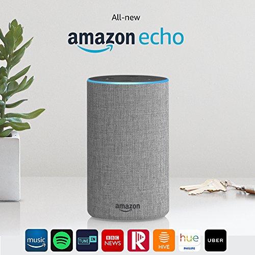 Certified Refurbished Amazon Echo (2nd generation), Heather Grey Fabric £79.99 @ amazon
