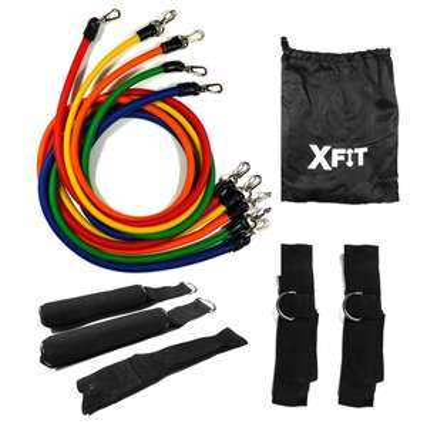 11 Piece Crossfit / Yoga Fitness Tubes XFit Resistance Bands Set now £5.99 + Free Delivery @ Shop4world
