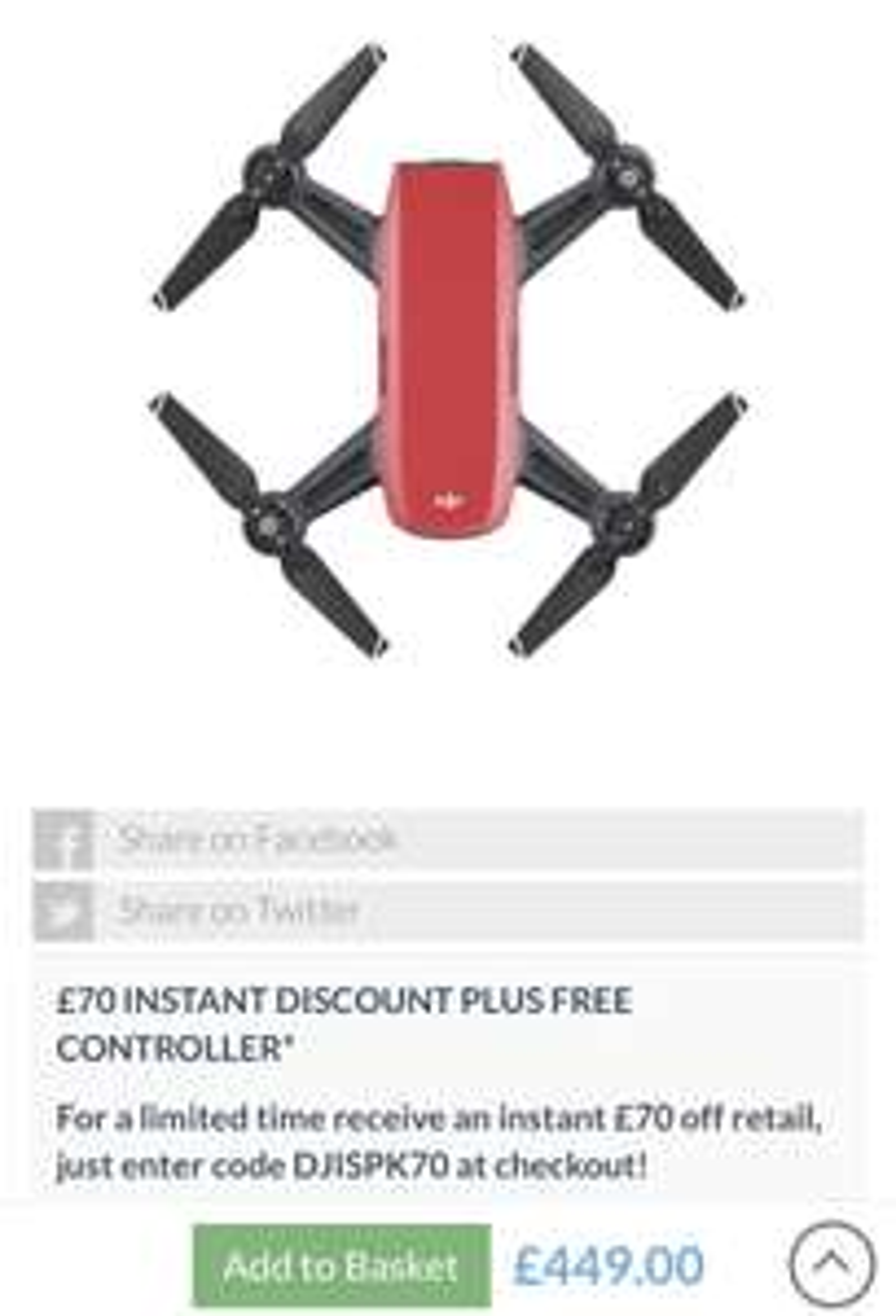 Dji Spark Drone £70 off + Free Controller £379 @ Clifton Cameras