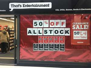 That's Entertainment CHESTER closing down - 50% off all stock