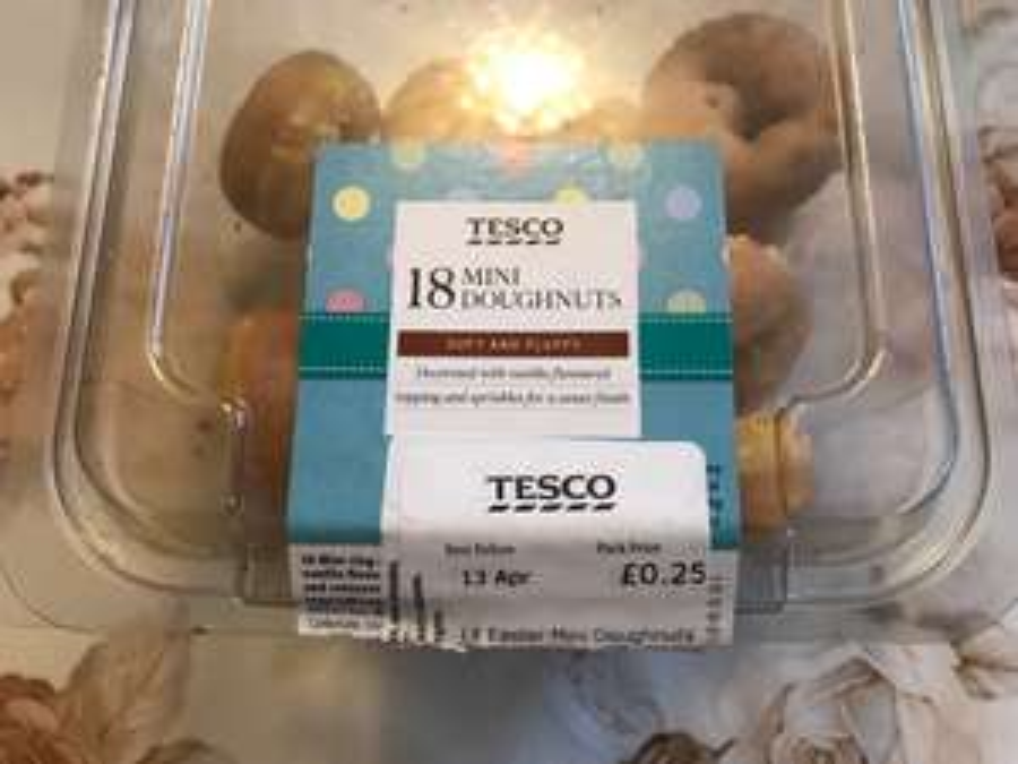 18 Mini Doughnuts for 25p at Tesco instore
