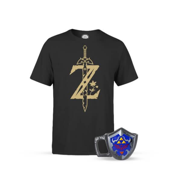 Nintendo Zelda Master Sword Black T-Shirt and Collector's Edition Shield Mug Bundle £14.99 Delivered (Pre-Order) @ Zavvi