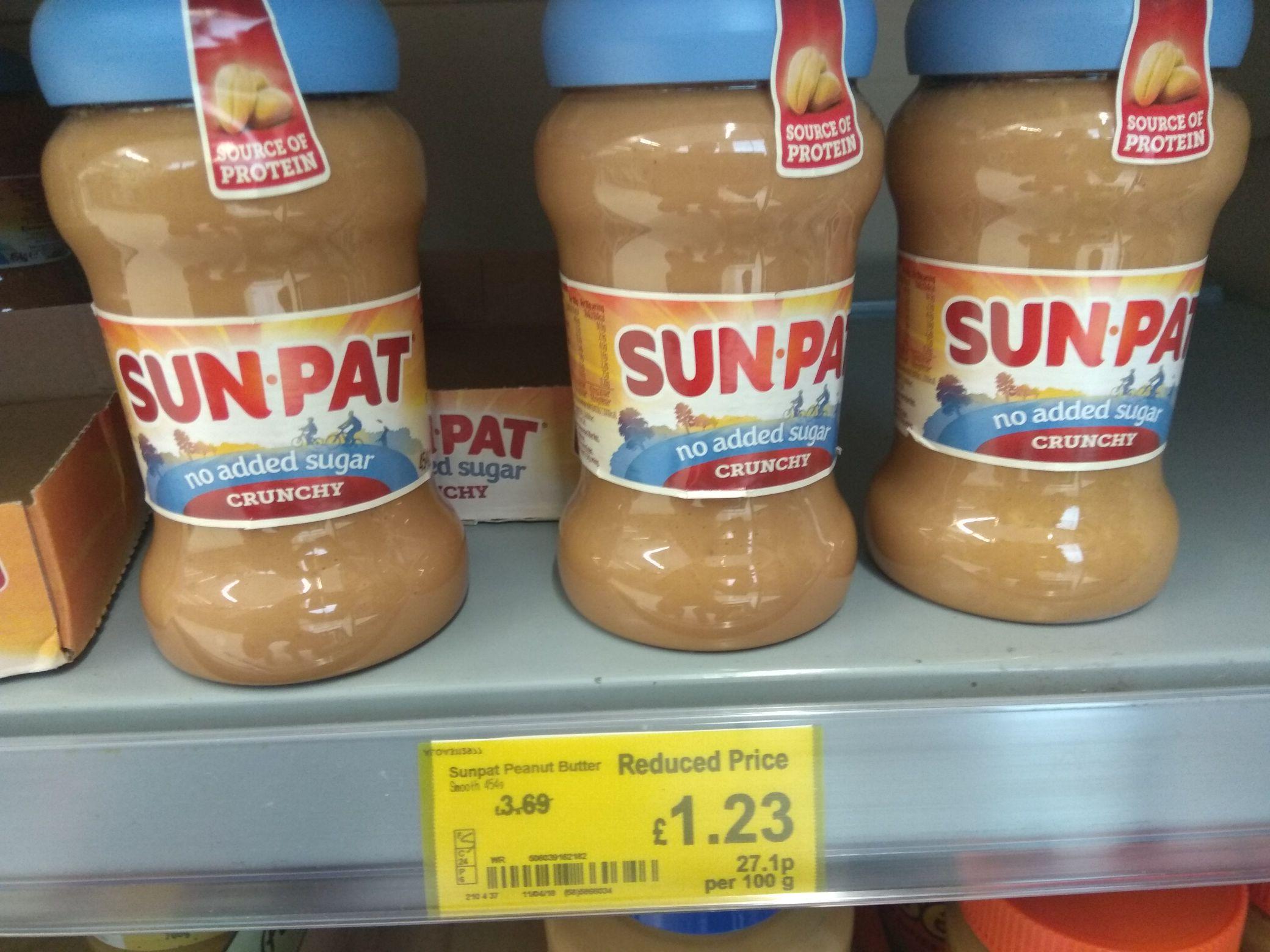 Sun.pat no added sugar peanut butter 454g jar at Asda for £1.23