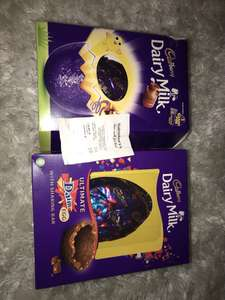 Ultimate Daim egg was £12 now £1.20 / XL Cadbury's dairy milk egg was £10 now £1 @sainsbury