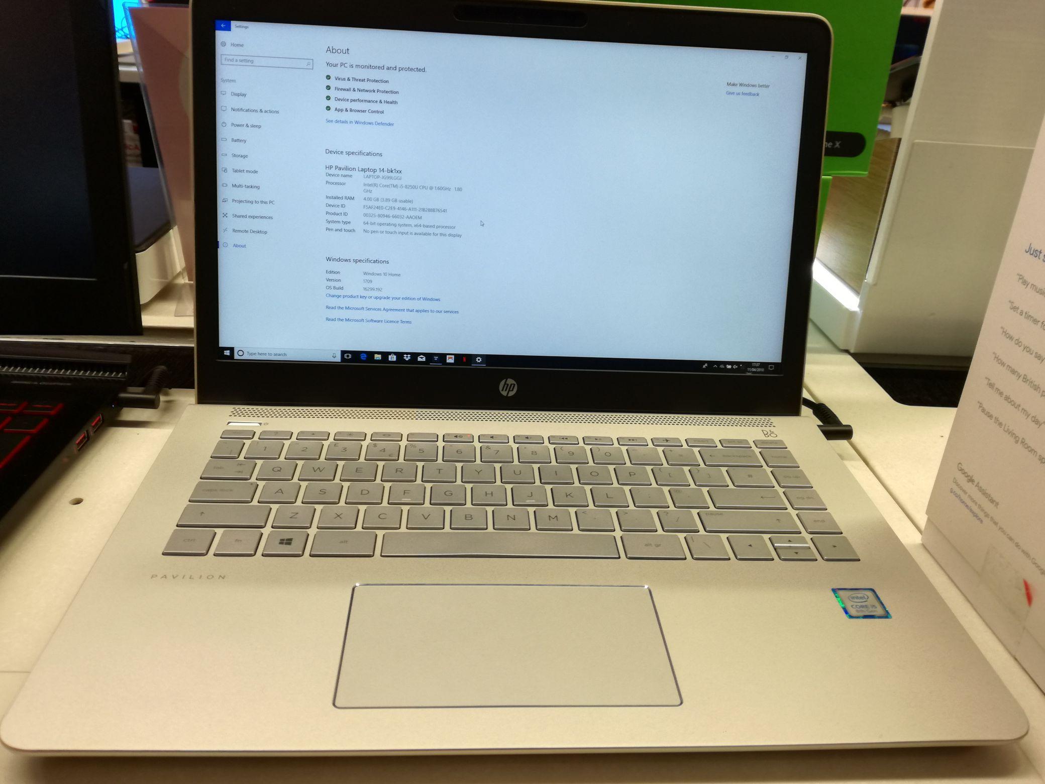 """HP Pavillion 14"""" laptop (silver), Intel Core i5 8250U, 4gb ram, 128gb SSD - £349.99 @ Dixons (MCR Airport - T3)"""