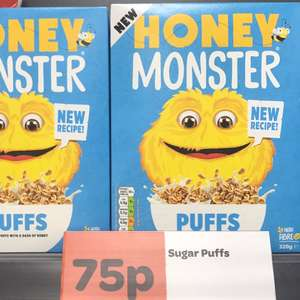 Honey Monster Puffs (Sugar Puffs) 320g 75p instore at Spar