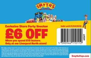 £6 off when you spend £15 or more instore at Smyths voucher