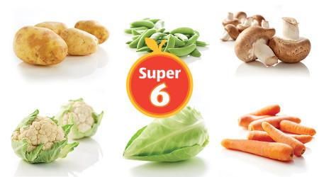 Aldi Super 6 Deals 12th-25th April - Chestnut Mushrooms 250g 72p, Carrots 1kg 42p, Baking Potatoes 4 Pack 42p, Cauliflower 72p, Sweetheart Cabbage 42p, Sugar Snap Peas 150g 72p, Beef Grillsteaks 320g £1.99, Louisiana BBQ Pork Ribs 400g £1.99