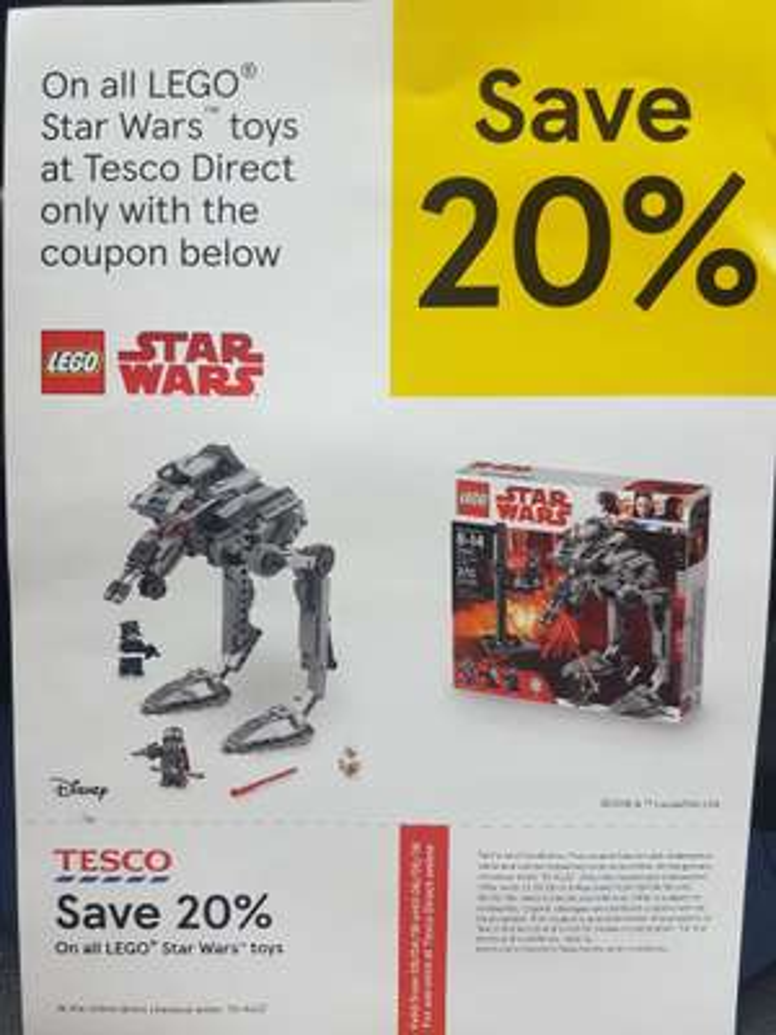 20% off Lego Star Wars (e.g.75190 Star Destroyer £103.20 / 75187 BB8 £60)  at Tesco Direct