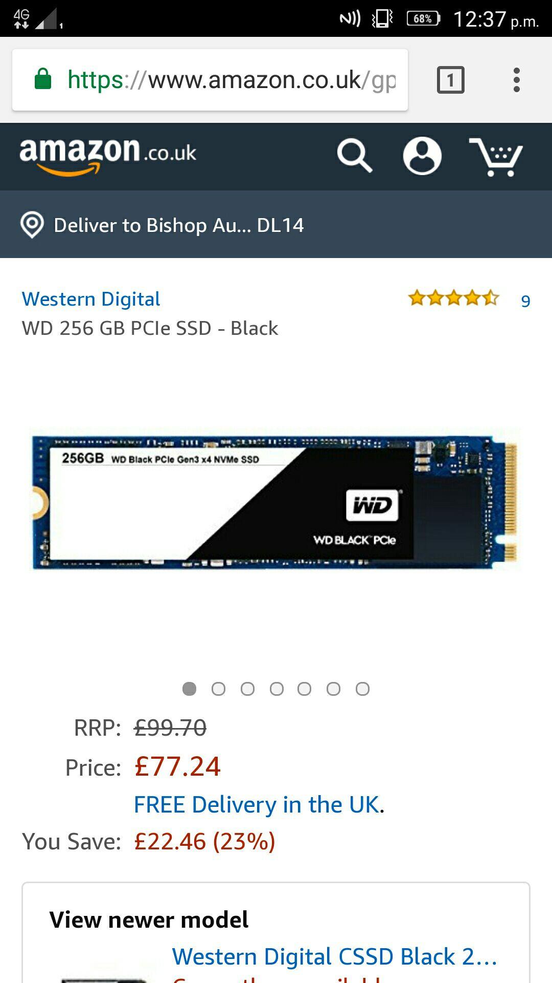 Western Digital 256GB M.2 SSD £71.99 @ Amazon