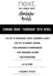 Various offers and free manicures; prosecco; pizza; ice cream and more for NEXT launch in Manchester TODAY (see post for more info) (also chance to meet Gino between 4 and 6)!!!