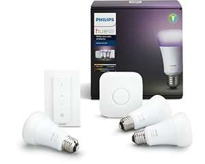 Philips Hue White and Colour Ambience Wireless Lighting E27 £122.07 @ Amazon